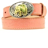 N4410530 Girl's Nocona Pink Floral Tooled Belt with Oval Buckle