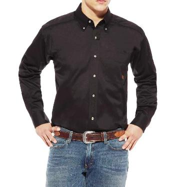 10000502 Men's Ariat Solid Twill Black Long Sleeve Shirt