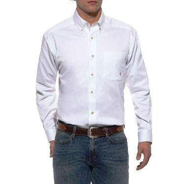 10000503 Men's Ariat Solid Twill White Long Sleeve Shirt