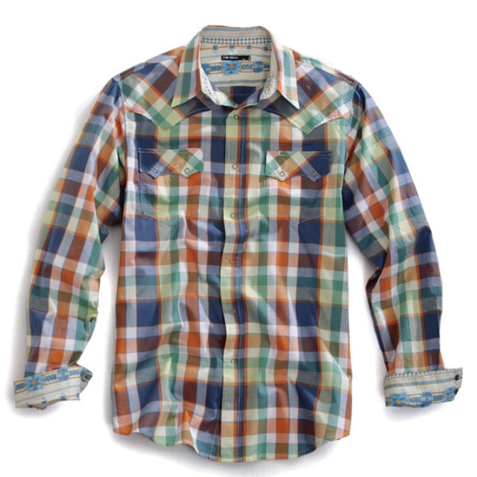 10010620203MU Men's Tin Haul Plaid Snap Long Sleeve Shirt
