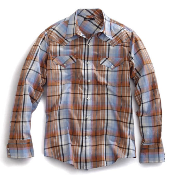 1001062205BR Men's Tin Haul Brown Plaid Long Sleeve Shirt