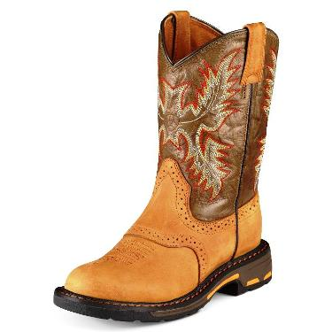 10007836 Children's Ariat Workhog Square Toe Roper