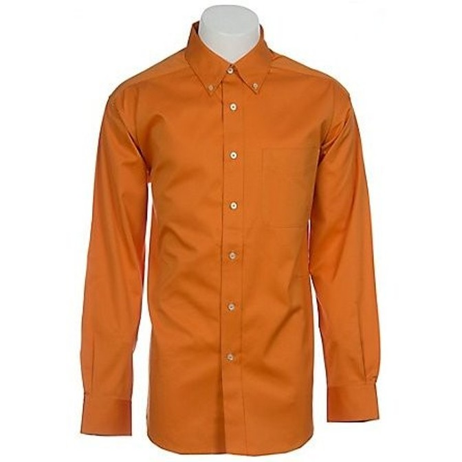 10009117 Men's Ariat Solid Twill Orange Long Sleeve Shirt