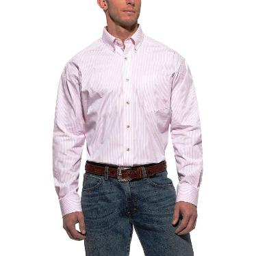 10010360 Men's Ariat Balin Pink Stripe Long Sleeve Shirt