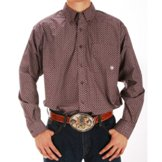 10011409 Men's Ariat Taft Wine and White Button Down Long Sleeve