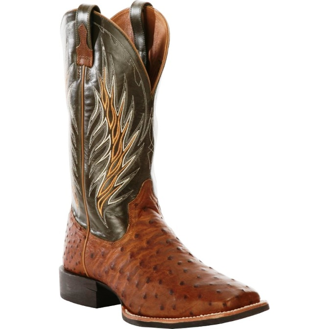 10011786 Men's Ariat Quantum Brander Ostrich Exotic Cowboy Boot