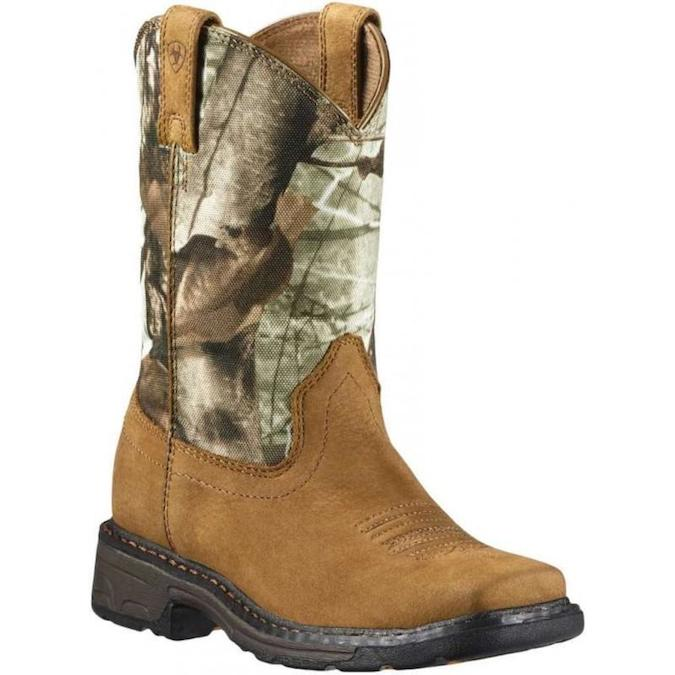 10011934 Kid's Ariat Workhog Camo Square Toe Cowboy Boot