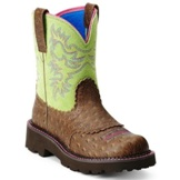 10012821 Women's Ariat Ostrich Print Fatbaby Roper Cowgirl Boots