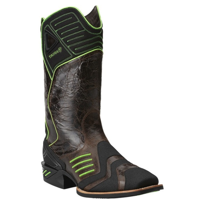 Ariat Catalyst Brown And Lime Green Cowboy Boot