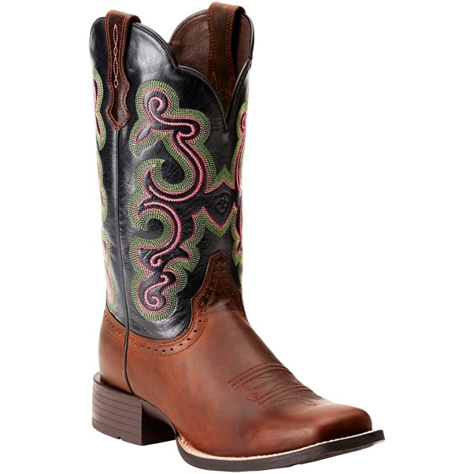 10014170 Women's Ariat Black and Brown Quickdraw Square Toe Boot
