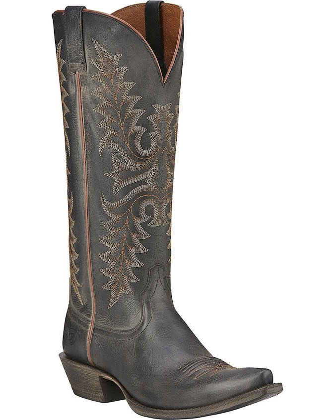 10016328 Women's Ariat Rustic Black Snip Toe Tall Cowgirl Boot