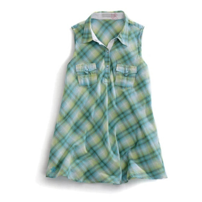 1052062238GR Women's Tin Haul Green Sleeveless Plaid Shirt