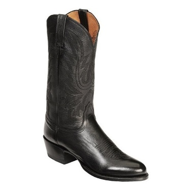 M1020.R4 Men's Lucchese Black Lonestar Calf Roper Cowboy Boot