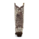 A1094 Women's Corral Brown Crater Bone Embroidery Snip Toe Boot