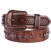 "1094 Men's 3D 1.5"" Chocolate Brown Leather Western Dress Belt"