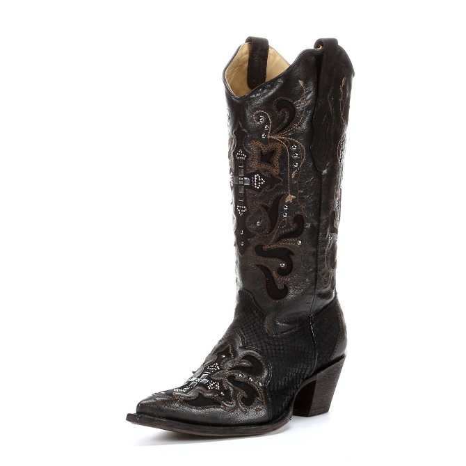 C1105 Women's Corral Crystal Cross Black Python Cowboy Boot