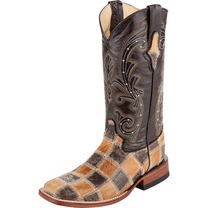 1139315 Men's Ferrini Cowhide Patchwork Roper Cowboy Boot