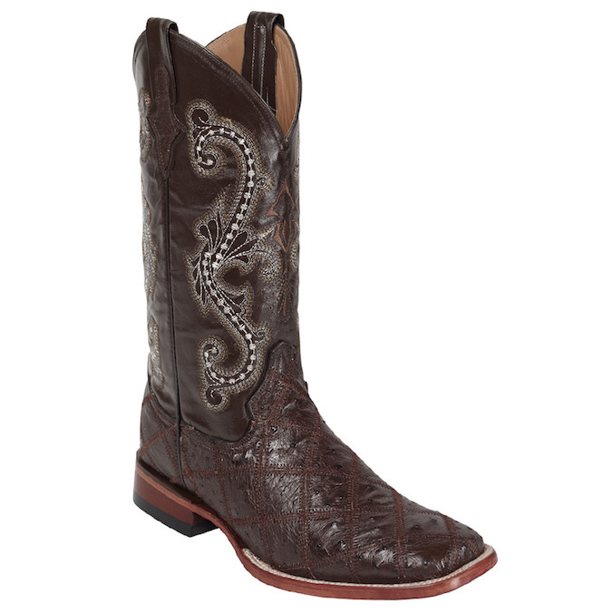 1169309 Men's Ferrini Nicotine Ostrich Patchwork Roper Boot