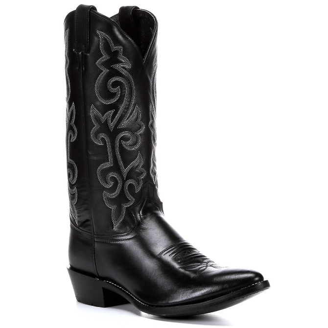1409 Men's Justin Black London Calf Cowboy Boot