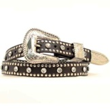 N3431701 Women's Nocona Rhinestones and Studs Leather Belt