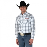 MHS185M Men's Wrangler� Logo White/Grey Long Sleeve Plaid Shirt