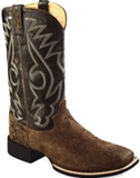 "BSM1873 Men's Old West 12"" Leather Square Toe Roper Cowboy Boot"