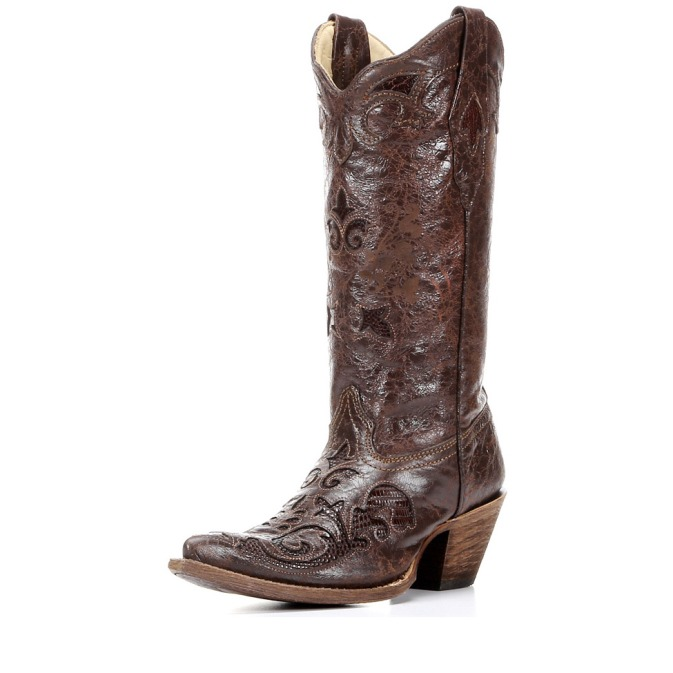 C2109 Women's Corral Chocolate Vintage Lizard Cowboy Boot