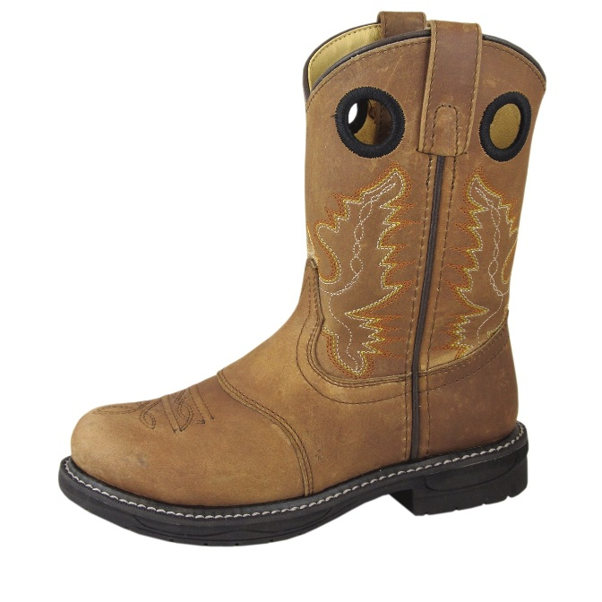 2467C Children's Smoky Mountain Brown Leather Roper Cowboy Boot