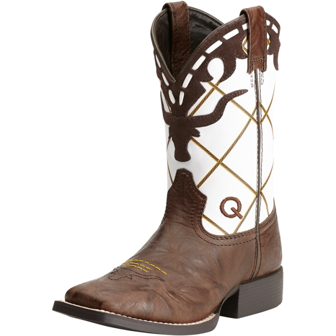 10014117 Child's Ariat Brown & White Longhorn Cowboy Boot