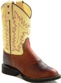 CW2552 Children's Old West Brown and Tan Leather Cowboy Boot