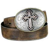 N3444202 Women's Nocona Brown Belt with Floral Cross Buckle