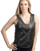 2681.00 Women's Black Leather Motorcycle Vest