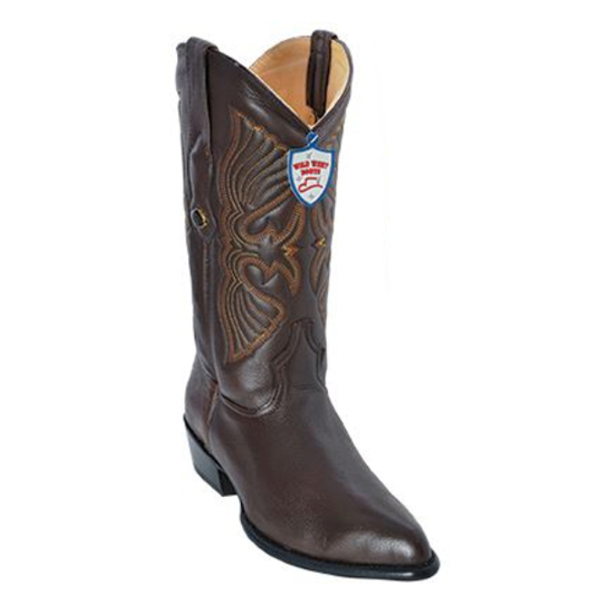 2995107 Men's Wild West Dark Brown Deer Leather Cowboy Boot