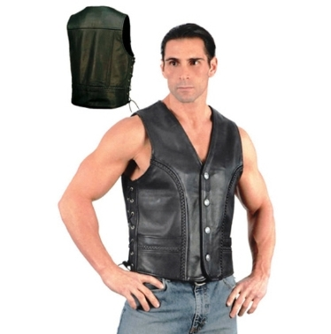 0319.BF Men's UNIK Ultra Leather Motorcycle Vest