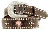 N4413630 Girl's Nocona Brown Studded Belt with Cross and Hearts