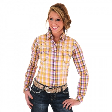 LJ3721M Women's Wrangler Purple and Gold Long Sleeve Shirt
