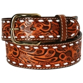 "3870N Men's  3D 1 3/4"" Natural Western Tooled Belt"
