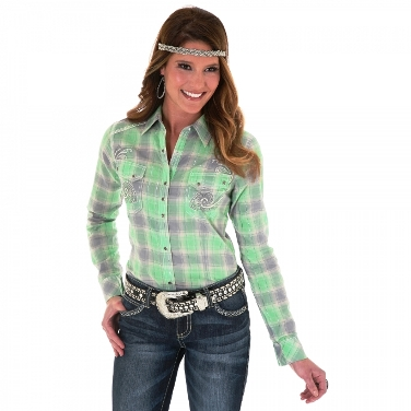 LJ3971M Women's Green and Grey Long Sleeve Metallic Plaid Shirt