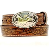 N4410402 Children's Nocona Brown Tooled Belt