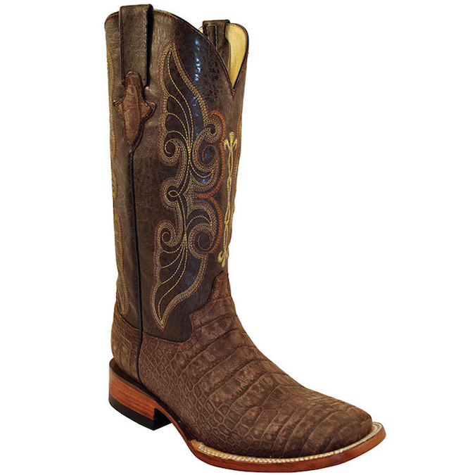 4079341 Men's Ferrini Suede Alligator Print Roper Boot