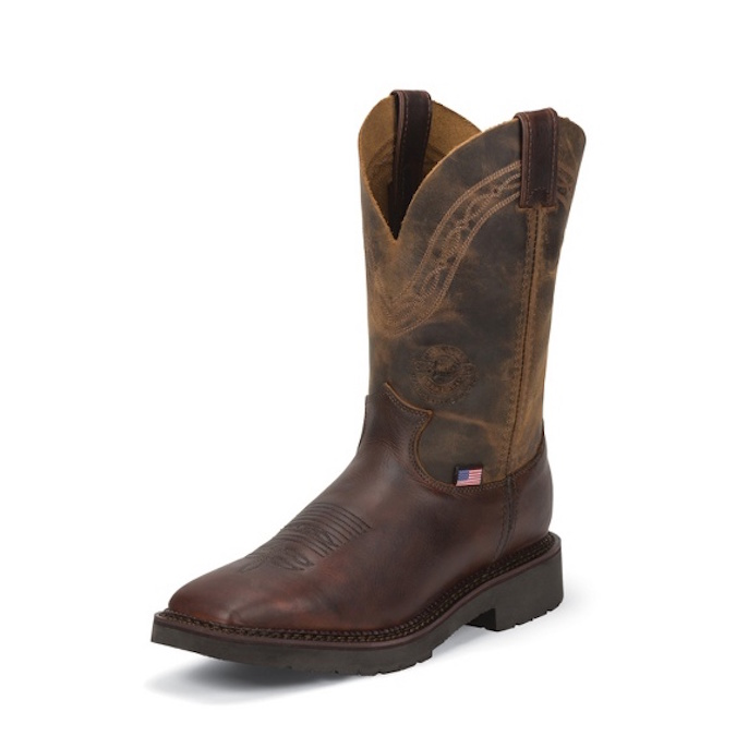 4520 Men's Justin Briar Pitstop Square Toe Cowboy Boot