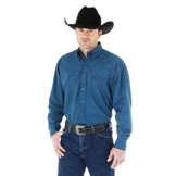 MGS48BM Men's Wrangler George Strait Blue/ Turquoise Long Sleeve