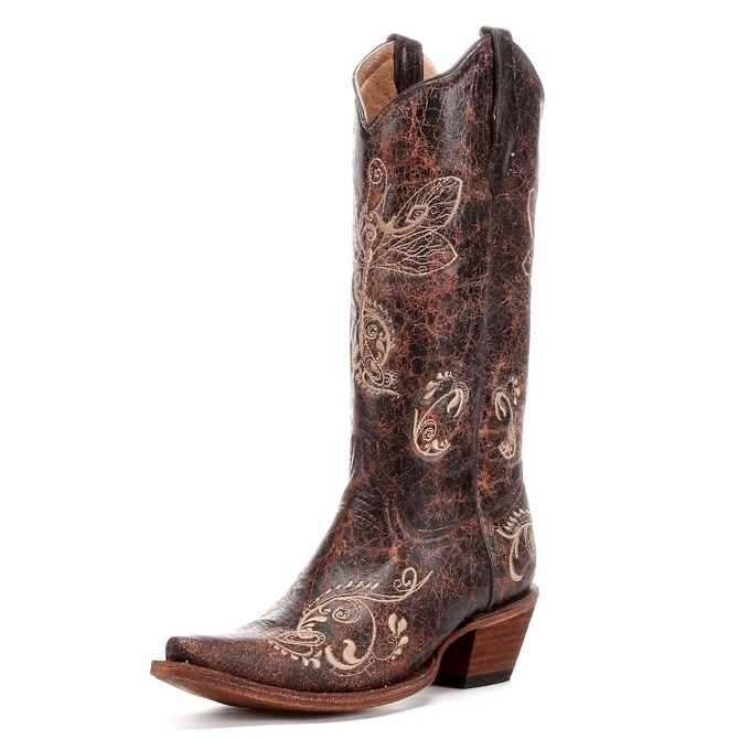 L5001 Women's Circle G Brown Dragonfly Snip Toe Cowboy Boot