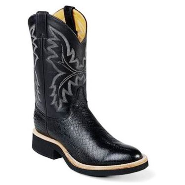 L5005 Women's Justin Black Smooth Ostrich Cowboy Boot
