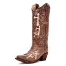L5038 Women's Circle G Beige Cross Embroidered Cowboy Boot