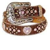 N4425202 Girl's Nocona Brown Rhinestone Heart Belt