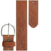 53909 Silver Creek Brown Western Scroll Tooled Leather Belt