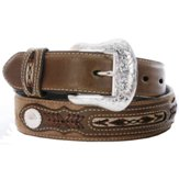 N2475702 Men's Nocona Brown Fabric Inset Belt