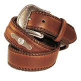 N2475802 Men's Nocona Laced Edge Brown with Concho Belt