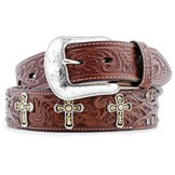 6024 Men's 3D Brown Cross Concho Snakeprint Belt